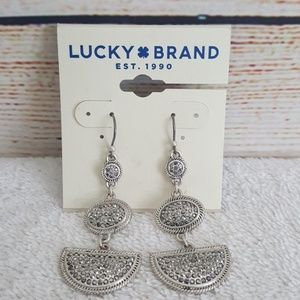 New Lucky Brand Silver Tone Pave Drop Earrings
